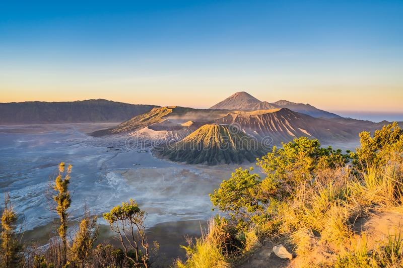 Sunrise at the Bromo Tengger Semeru National Park on the Java Island, Indonesia. View on the Bromo or Gunung Bromo on. Indonesian, Semeru and other volcanoes royalty free stock photos