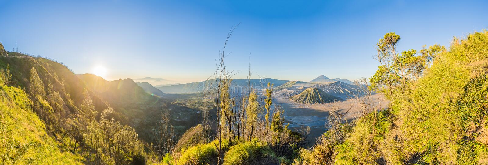 Sunrise at the Bromo Tengger Semeru National Park on the Java Island, Indonesia. View on the Bromo or Gunung Bromo on. Indonesian, Semeru and other volcanoes stock image