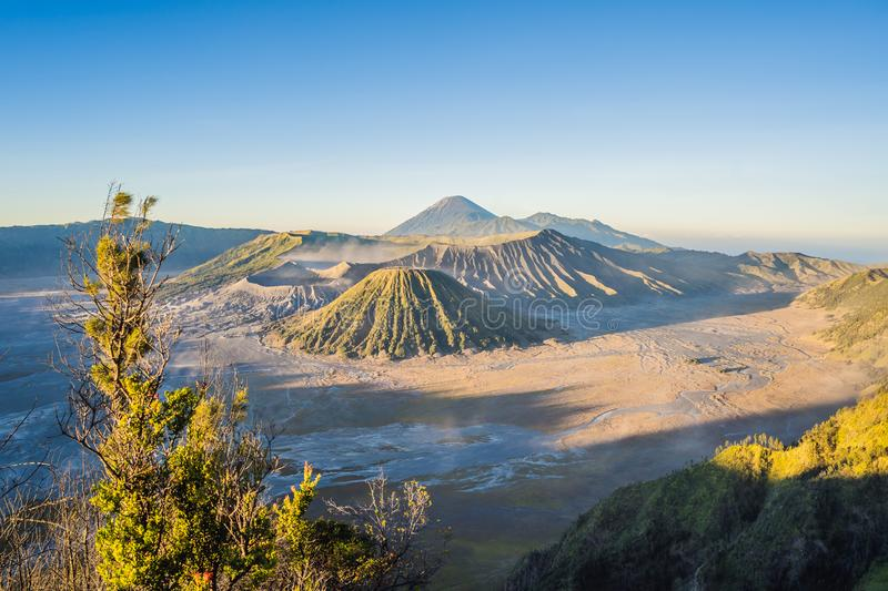 Sunrise at the Bromo Tengger Semeru National Park on the Java Island, Indonesia. View on the Bromo or Gunung Bromo on. Indonesian, Semeru and other volcanoes royalty free stock photo