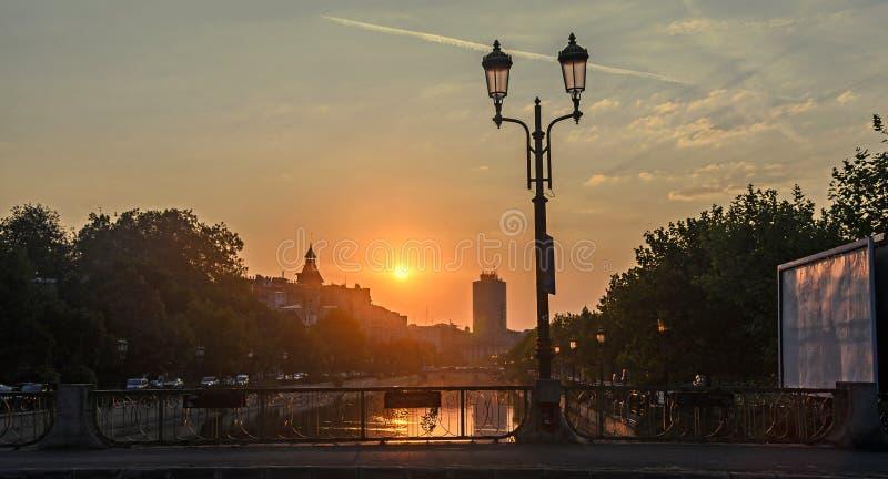 Sunrise in Bucharest city, the shore of Dambovita river, downtown stock photo