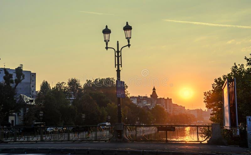 Sunrise in Bucharest city, the shore of Dambovita river, downtown royalty free stock photo
