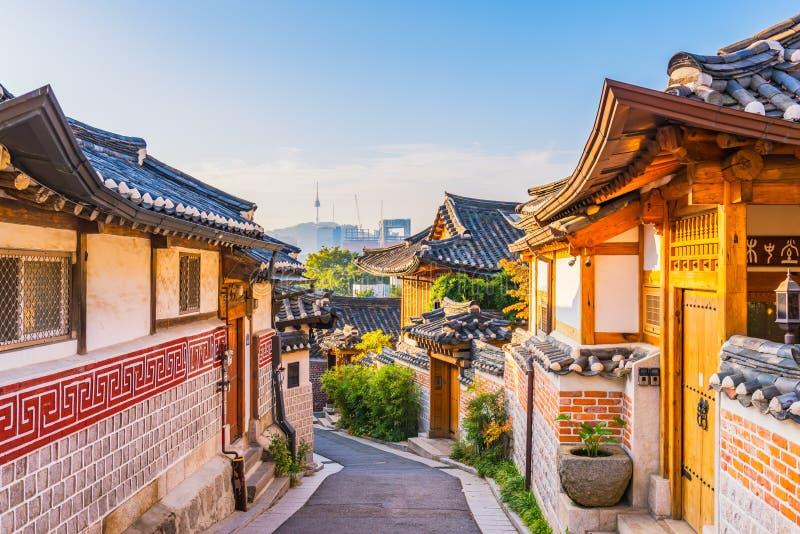 Sunrise of Bukchon Hanok Village in Seoul, South Korea.  royalty free stock image