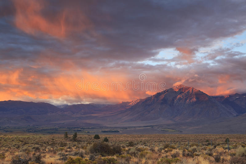 Sunrise in California mountains stock photo