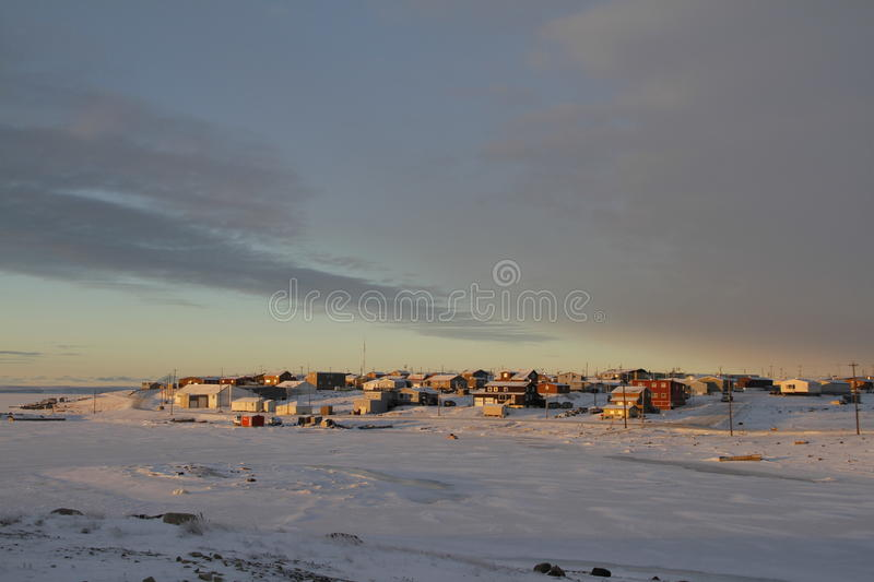 Sunrise over the arctic community of Cambridge Bay royalty free stock photos