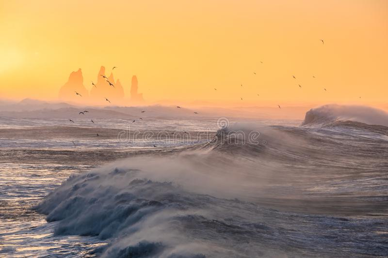 Sunrise at Cape Dyrholaey, the most southern point of Iceland stock photo