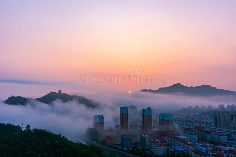 Sunrise in Xinglong County, Hebei Province, China royalty free stock image