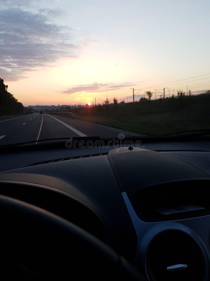 Sunrise car road landscape beautiful royalty free stock images