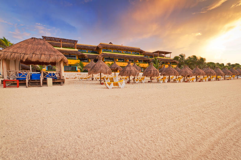 Sunrise on Caribbean beach royalty free stock photography