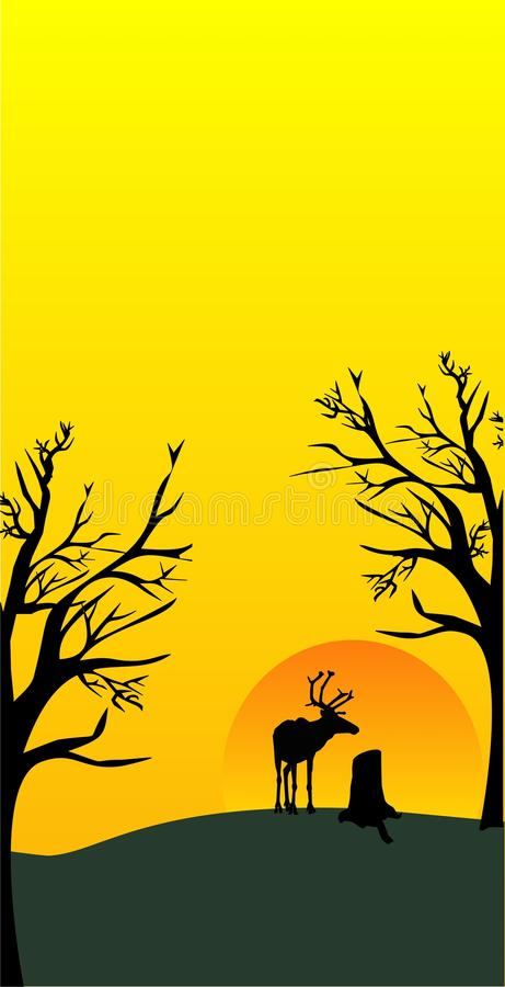 Download Sunrise caribou stock vector. Image of treetrunk, animal - 18450848