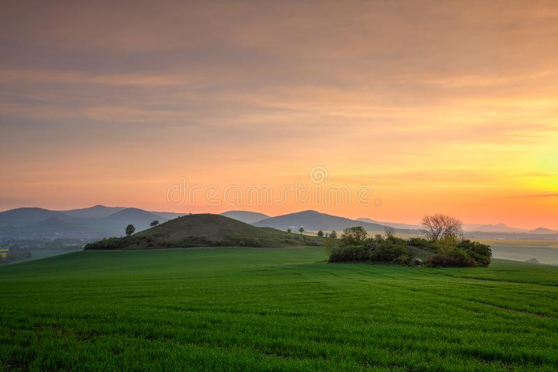 Sunrise in Central Bohemian Highlands, Czech Republic royalty free stock photo