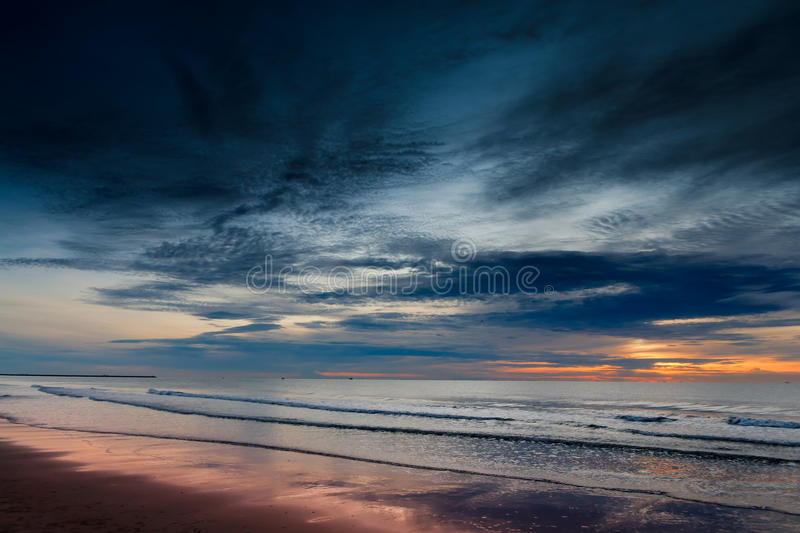 Download Sunrise at Cha-am Beach. stock image. Image of beach - 27311409