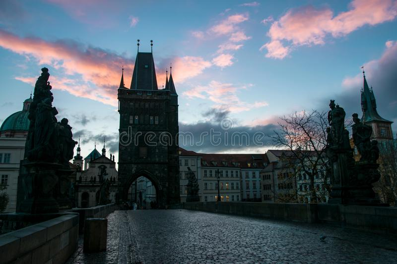 Sunrise on Charles bridge stock images