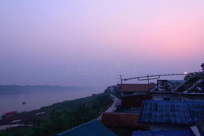 Sunrise on the Chiang Khan city stock photo