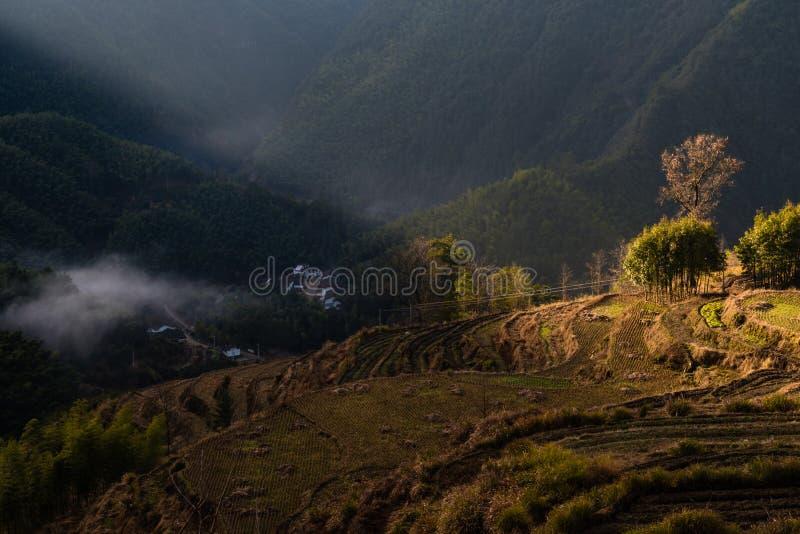 Sunrise in Chinese Mountain Village Farm stock photos