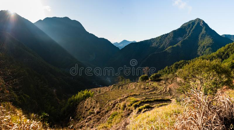 Sunrise in Chinese Mountain Village Wide royalty free stock image