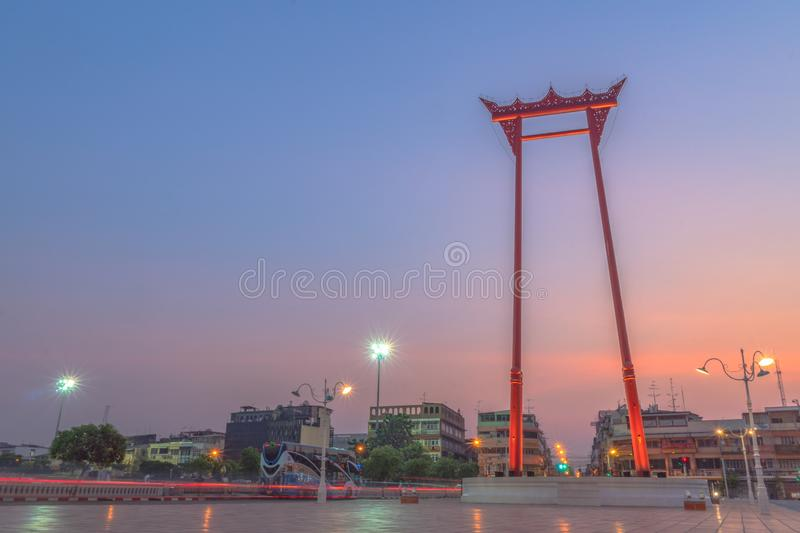 Sunrise at Chingcha or Swing pillars in Bangkok. Sunrise at Swing pillars in Bangkok. Sao Chingcha or Swing pillars are the architecture created for the ceremony stock photography