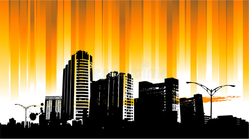 Sunrise city background royalty free illustration
