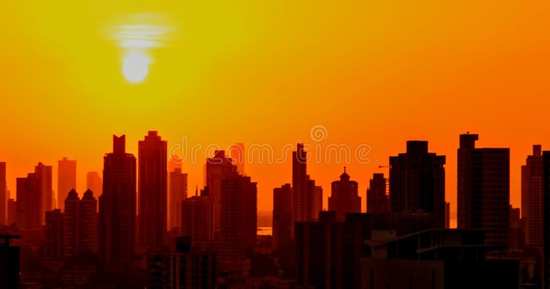 Sunrise at the city stock photography