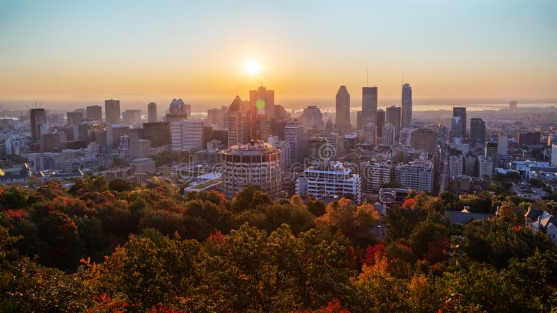 Montreal sunrise from Mont Royal stock photo