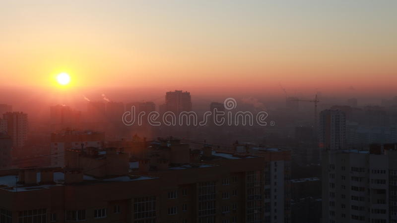 Sunrise in the city. stock photo