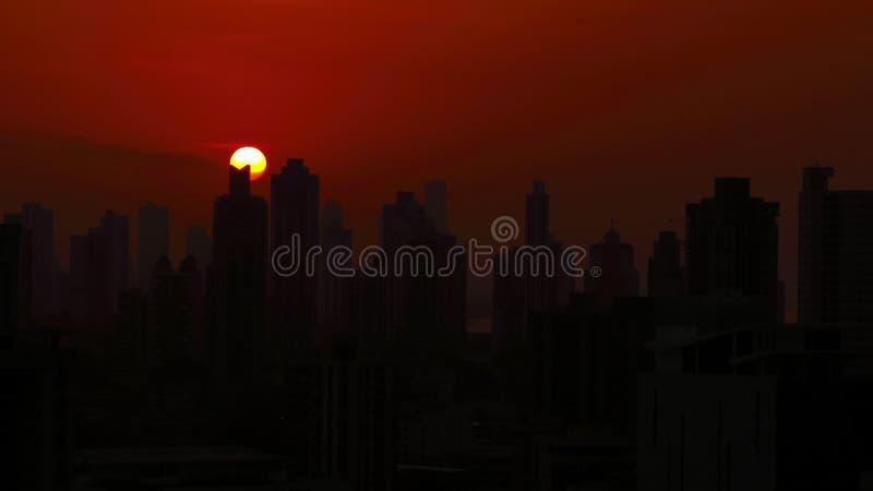 Sunrise at the city stock photos