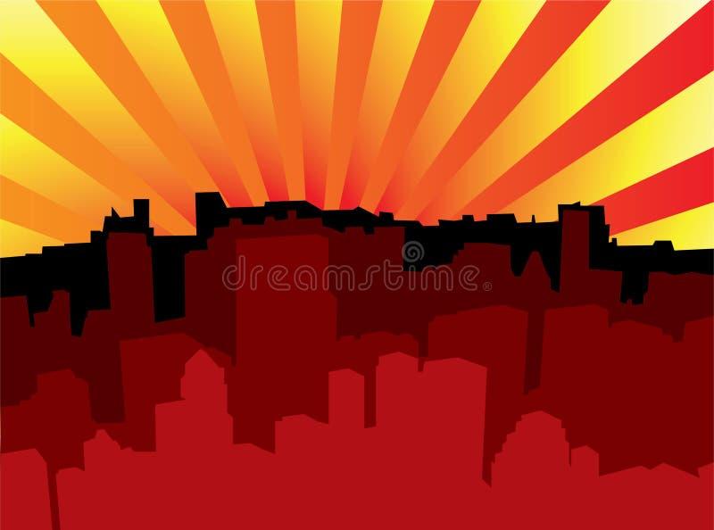 Sunrise city scape stock illustration