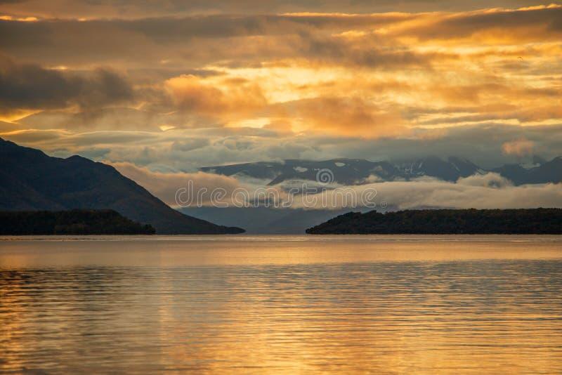 Sunrise with clouds at Naknek Lake in Brooks Falls camp, Alaska royalty free stock photo