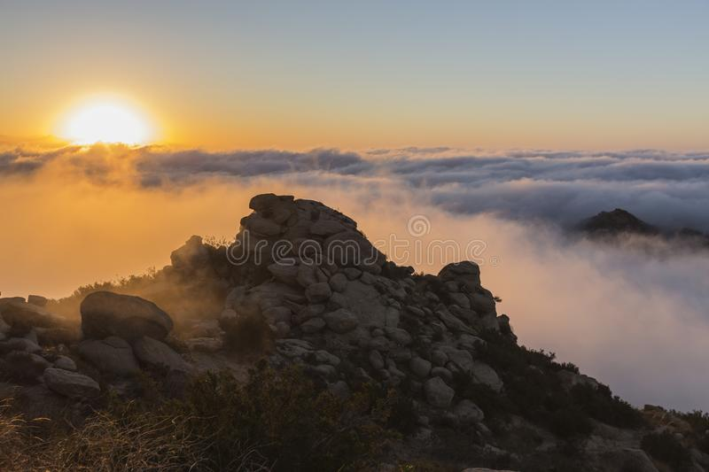 Los Angeles Rocky Peak Park Sunrise Clouds royalty free stock photography