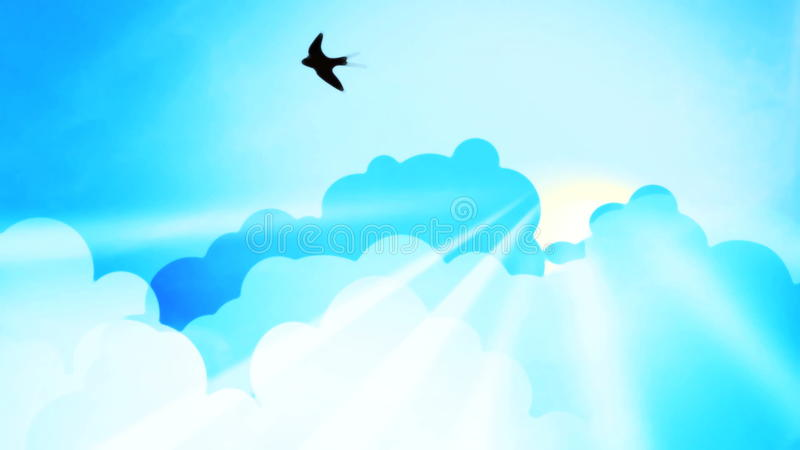 Sunrise clouds with swallows stock video footage