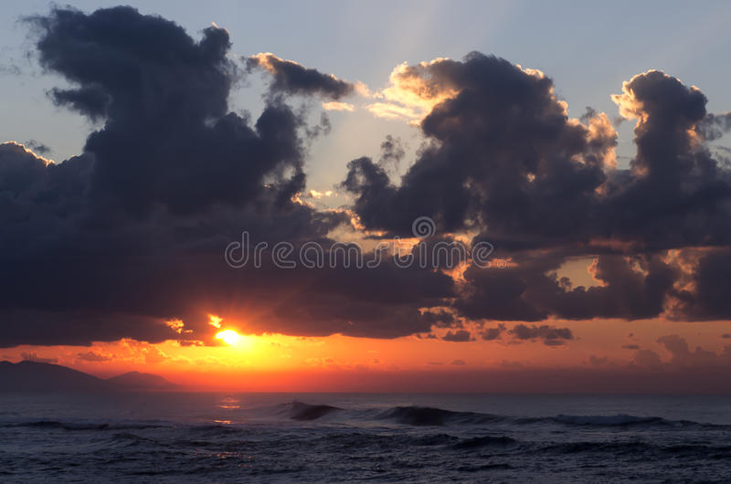 Sunrise with cloudy sky royalty free stock images