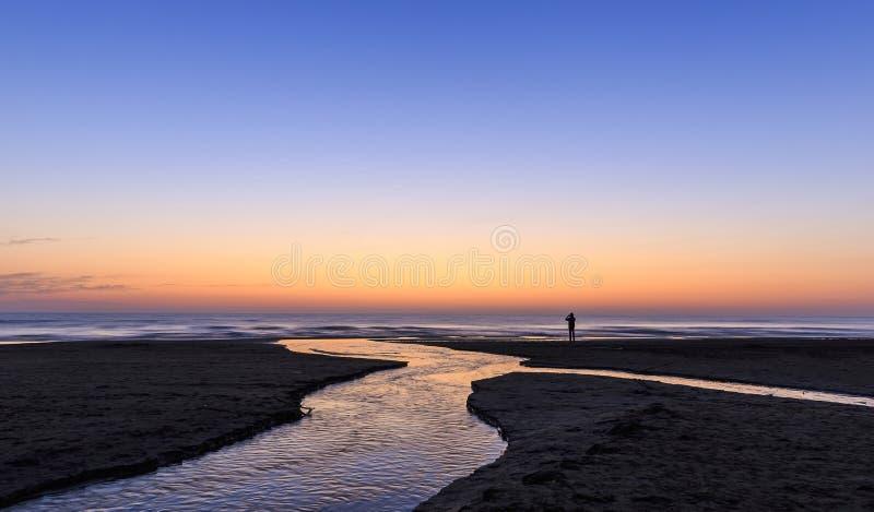 Sunrise on the coast of the Caspian Sea stock photography
