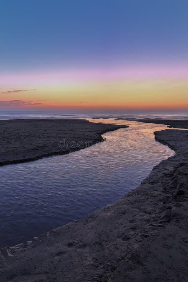 Sunrise on the coast of the Caspian Sea royalty free stock image