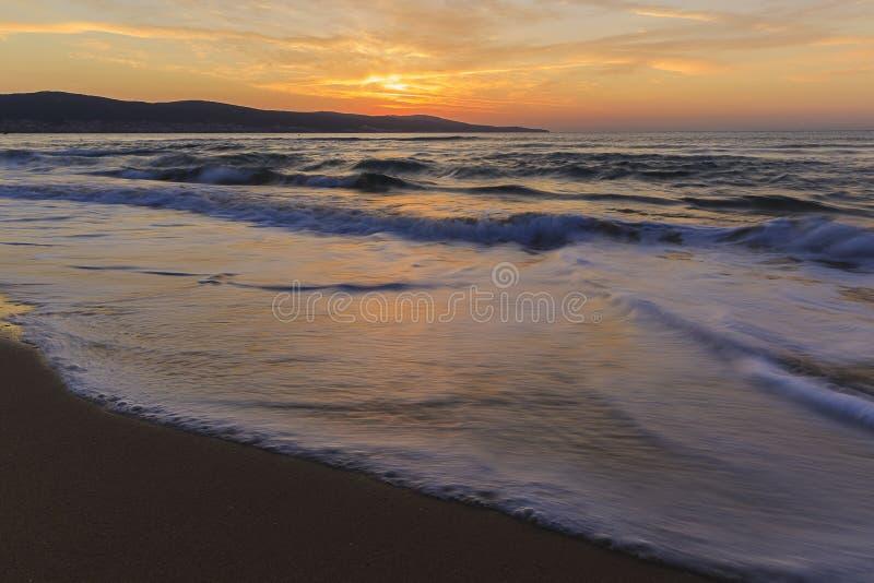 Sunrise on the coast of Sunny Beach in Bulgaria royalty free stock photography