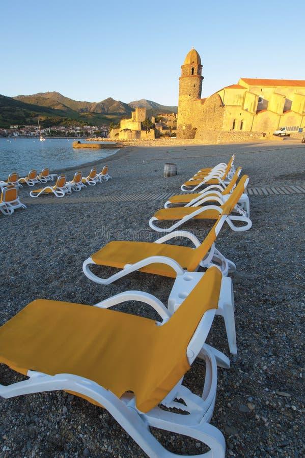 Sunrise Collioure beach royalty free stock photography