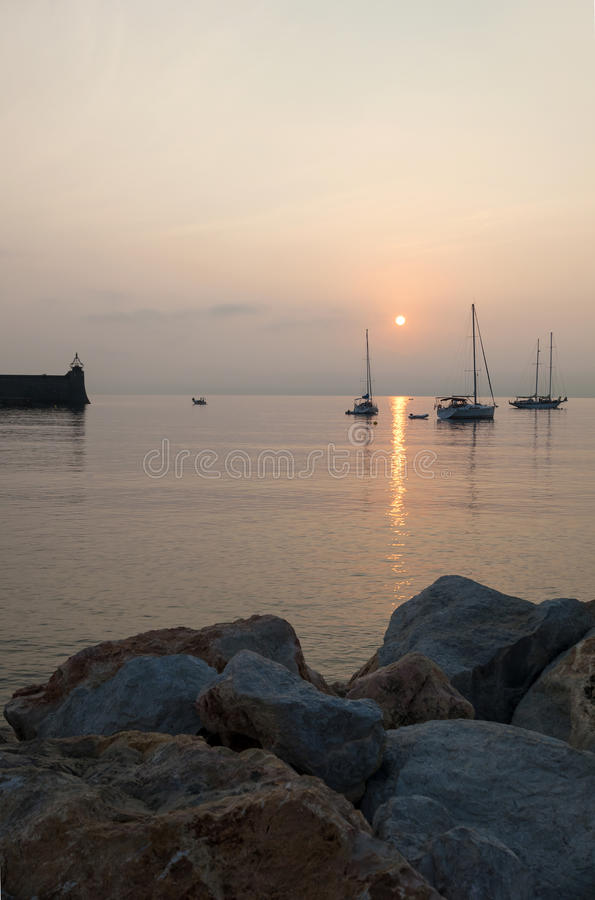 Sunrise harbour Collioure stock image