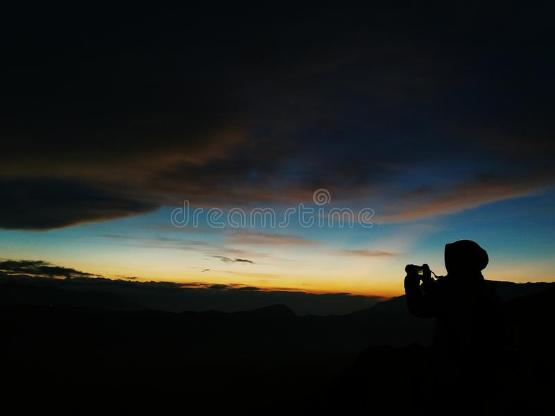 The sunrise is coming!. The picture was taken at Bromo Tengger Semeru National Park royalty free stock image