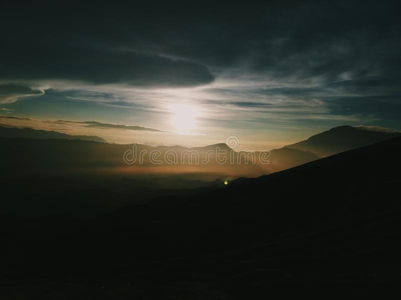 The sunrise is coming!. The picture was taken at Bromo Tengger Semeru National Park stock photography