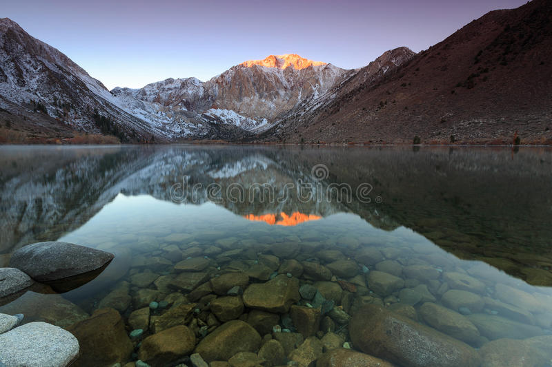 Sunrise at Convict Lake. Sunrise at convict lake in the eastern sierra mountains, Califonia, USA stock images
