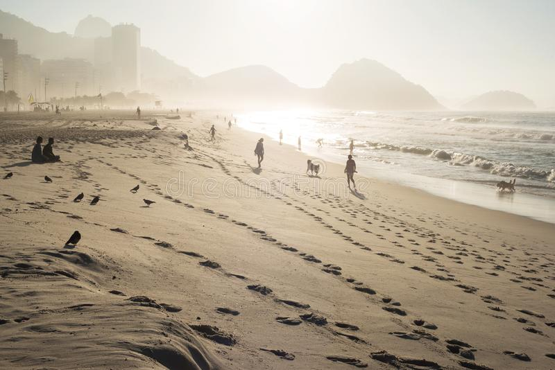 Sunrise On Copacabana Beach stock image