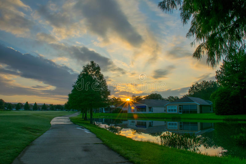 Sunrise on the Course royalty free stock images