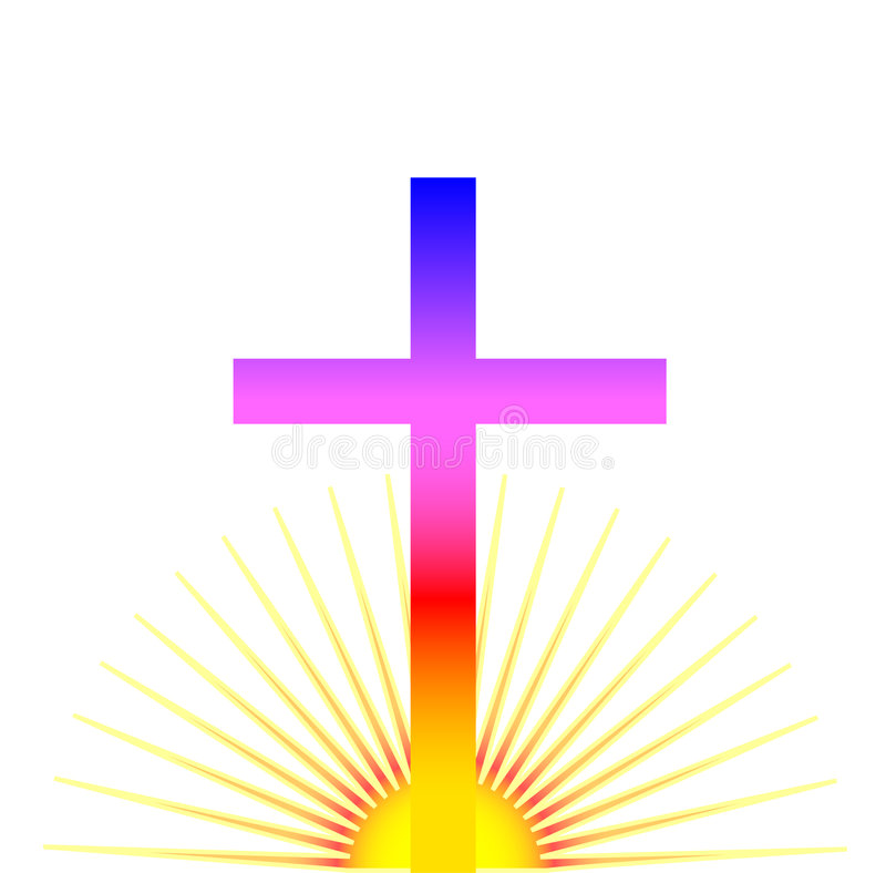 Sunrise Cross. Multi-colored Christian cross in front of a rising sun stock illustration