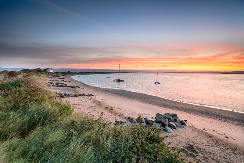 Sunrise from Crow Point. Stunning sunrise ofrom Crow Point on the north coast of Devon stock images