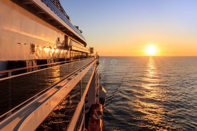 Sunrise on the cruise ship stock images