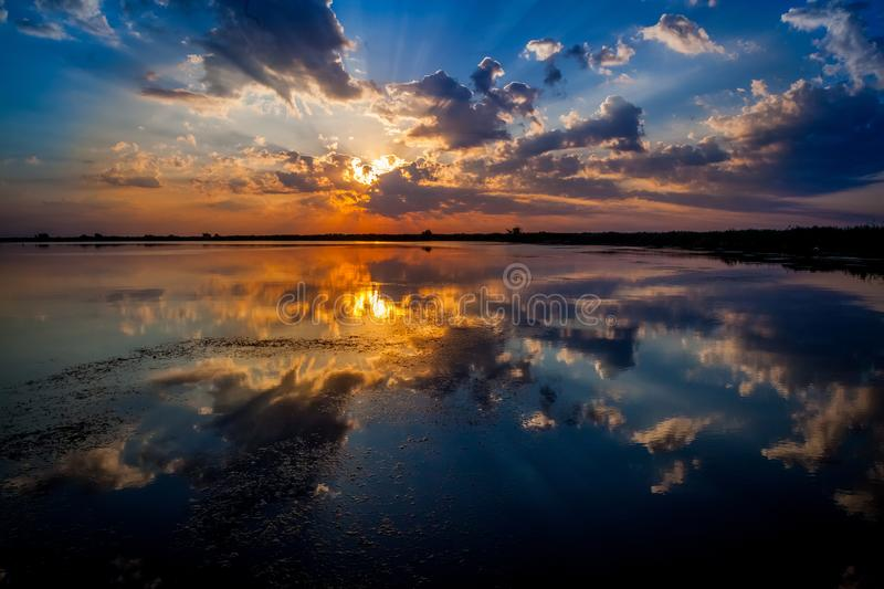 Sunrise in the Danube Delta royalty free stock images