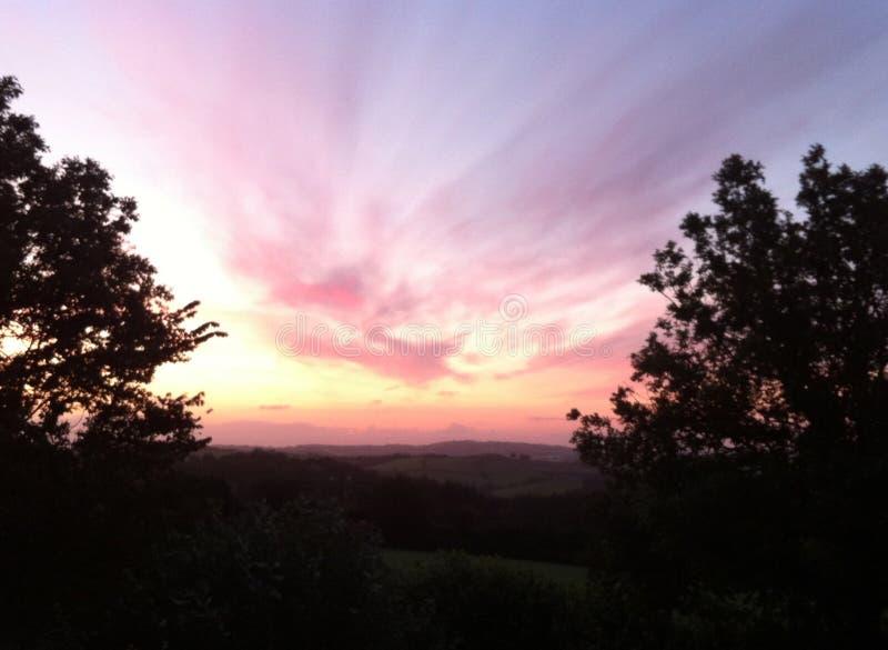 Sunrise in Dartmoor. A Dartmoor sunrise stock photography