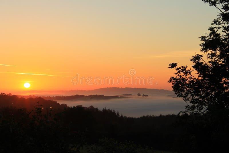 Sunrise in Dartmoor. A Dartmoor sunrise stock photo