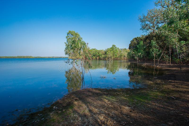 Sunrise - Dawn, Lake, Dawn, Sun, Riverbank. Flooding in rural areas. Panorama of village landscape with views of the river and the trees in the water. Flooding stock photography