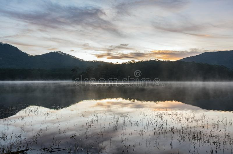 Sunrise or dawn in the lake stock photo