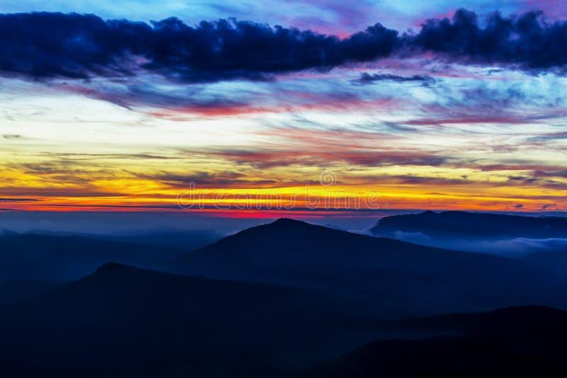 Sunrise dawning at Phu Ruea. Nation Park, Loei Province Thailand royalty free stock images