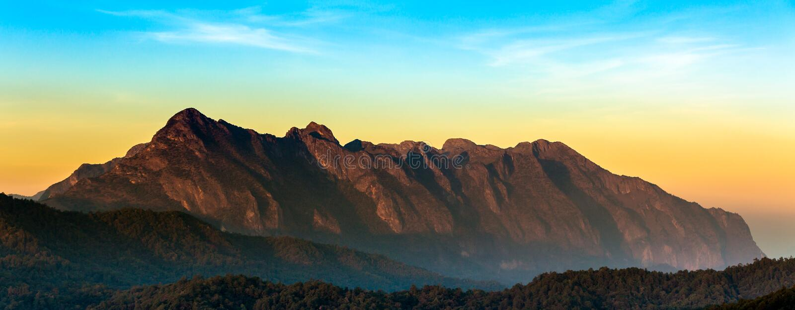 Sunrise at Doi Luang Chiang Dao is a 2,175 m (7,136 ft) high mountain in Chiang Mai, Thailand. Sunrise at Doi Luang Chiang Dao is a 2,175 m (7,136 ft) high royalty free stock photos